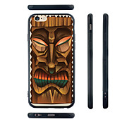 Wooden Mask Pattern Silica Gel Edge Back Case for iPhone 6/6S