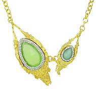 Unique Style Big Green Stone Pendant  Necklace