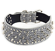 Dog Collar Adjustable/Retractable / Studded Rock Pink / Gray PU Leather