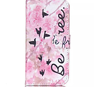 Pink Flower Pian Pattern PU Leather Phone Case For iPhone 6