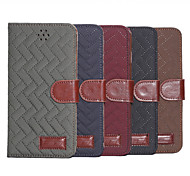 Plaid Texture Leather Case with Holder & Card Slots