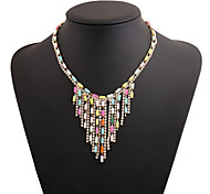 Acrylic Plated With Tassel Cubic Zirconia Fashion Necklace