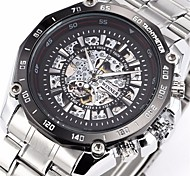 WINNER® Men's Auto-Mechanical Fashion Skeleton Silver Steel Band Wrist Watch Cool Watch Unique Watch