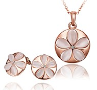 For Women Fashion Flowers opal suits Set Include  Necklaces Earrings