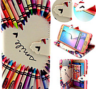 Colorful Pencil Pattern with Card Bag Full Body Case for Samsung Galaxy S6/ S6 Edge