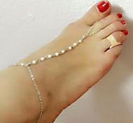 Fashion Summer Beach Simple Handmade Pearl Barefoot Sandals(1pc)