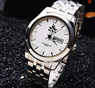 Men's Luxury Business Round Calendar Dial Stainless Steel Strap Fashion Waterproof Quartz Watch