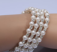Fashion Small Pearl Diamond Ring Four Strand Bracelets Wedding/Party/Daily/Casual 1pc