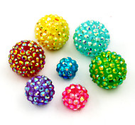 Beadia 20Pcs Rhinestone Beads 18mm Round 15 Colors Can Be Choose Bling Resin Ball Chunky Plastic DIY Loose Beads