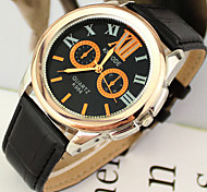 Men's Watch Fashion Dress Watch PU Band Wrist Watch Cool Watch Unique Watch