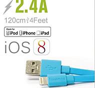 fonemax® mfi certifié 8 broches de données de synchronisation USB / câble de chargement plat pour l'iphone 5 / 5s / 6/6 plus / iPad / iPod