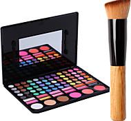 78 Colors Pro Cosmetic Makeup Pigment Kit Eye Shadow Blush Palette Lip Gloss Tools+1PCS Blush Brush