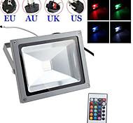 schwarz wasserdicht 30w kalt / warmes Weiß RGB-Licht mit Fernbedienung LED Flut-Lampe + Stecker (AC85V-265V)