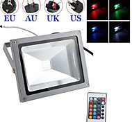 Black Waterproof 30W Cold/warm white RGB Light Remote Controlled LED Flood Lamp + Plug (AC85V-265V)