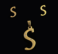 European And American Fashion S Letter A letters Pendant And Ear Studs Set (No Necklace)