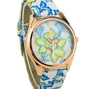 Women's Colorful Flower Pattern PU Band Quartz Wrist Watch