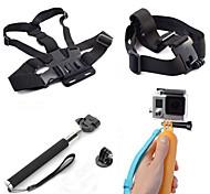 Kit de 4-en-1 accesorios de la cámara de deportes para GoPro héroe 4/3 / 3 + / sj4000 / sj5000 / sjcam / Xiaoyi - negro