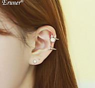 Euner® 2Pcs/Set 2015 New 4 Style Crystal Ear Cuff Lady Pearl Butterfly Clip Earrings Ear Bone Pierced Clip Earrings