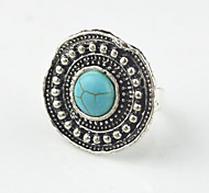 Vintage Look Antique Silver Turquoise Lava Tiger Amethyst Stone Adjustable Free Size Ring(1PC)