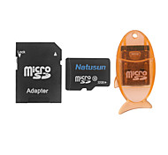 Natusun 32GB Class 10 MicroSDHC TF Memory Card with USB Card Reader and SDHC SD Adapter
