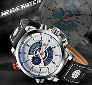 WEIDE Men Fashion Analog Digital Sport Watch Leather Strap Stopwatch/Alarm Backlight/Waterproof