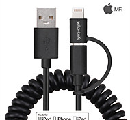 Apple MFi Certified Lightning+Micro USB Data Sync and Charger Spring Cable for iphone 6/5 iOS and Android (150cm)