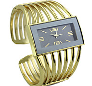 Women's Rectangle Case Alloy Gold Band Quartz Analog Bracelet Watch