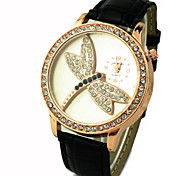 Women's Shinning Design With Dragonfly Pattern PU Band Analog Quartz Wrist Fashion Watch