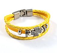 Gothic Bright Yellow Cross Leather Bracelets 1pc