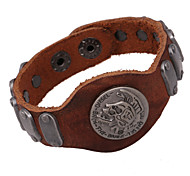 Punk Style Round Genuine Leather Hot Sales Wholesales Price Bracelet(Brown)(1Pc)