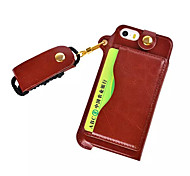 Pu Leather Card Slot Hang Rope Hanging Around His Neck cell Phone Holster For iPhone 5/5S(Assorted color)