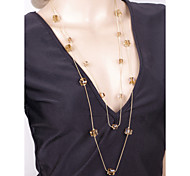 Fashion Vintage Gold Plated Long Chain Zirconia Necklace/Earrings Sets