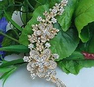 Wedding 5.7 Inch Gold-tone Clear Rhinestone Crystal Flower Brooch Bridal Bouquet