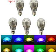 5 Stück HRY Dimmbar/Ferngesteuert/Dekorativ LEDBühnenleuchten A E26/E27 5 W 500 LM RGB K 5 High Power LED RGB AC 85-265 V