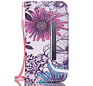 Large Purple Pattern PU Leather Free movement Wallet with Card Slot and Screen Protector for iPhone 4/4S