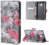 Red flower Wallet Leather Stand Cover for Microsoft Lumia 640