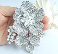 Wedding 3.54 Inch Silver-tone Clear Rhinestone Crystal Bridal Flower Brooch