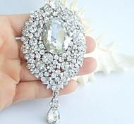 Wedding 3.94 Inch Silver-tone Clear Rhinestone Crystal Bridal Brooch Pendant Wedding Decorations