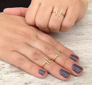 Women Fashion Simple Alloy Adjustable Ring Joint Ring
