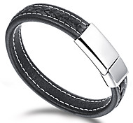 Leather Stainless Steel Magnetic Buckle Men's Bracelet