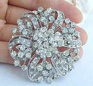 1.97 Inch Silver-tone Clear Rhinestone Crystal Flower Bridal Brooch Wedding Decorations