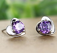 Crystal Heart Shaped Platinum Plated Earring Pin Lady Jewelry Gift