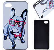Glasses Dog Pattern PC Material Phone Case for iPhone 4/4S