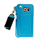Pu Leather Card Slot Hang Rope Hanging Around His Neck cell Phone Holster For iPhone 6(Assorted color)