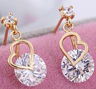 Women's 18K Gold Plated Noble Elegant Heart-shaped Earrings