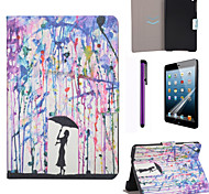 Paint Rain Pattern PU Leather Case with Screen Protector and Stylus for iPad mini 1/2/3