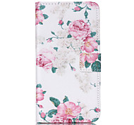Chinese Rose Pattern PU Leather Phone Case For Nokia N640