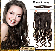 5 Clips Wavy Medium Brown (#4) Synthetic Hair Clip In Hair Extensions For Ladies more colors available