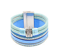 Fashion Women Multi Rows Stone Set Magnet Buckle Leather Bracelet