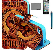 COCO FUN® Orange Fist Pattern PU Leather Case with Screen Protector and USB Cable and Stylus for iPhone 4/4S